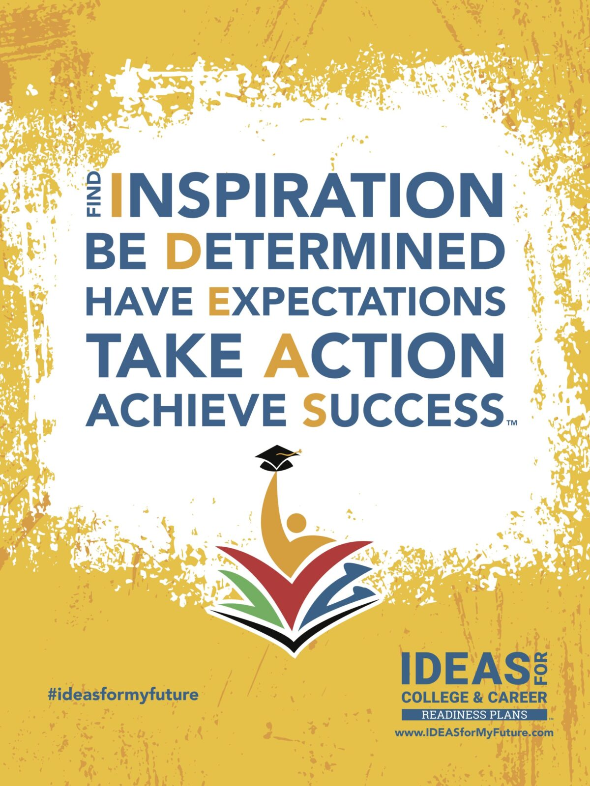 IDEAS Banner gold with blue letters